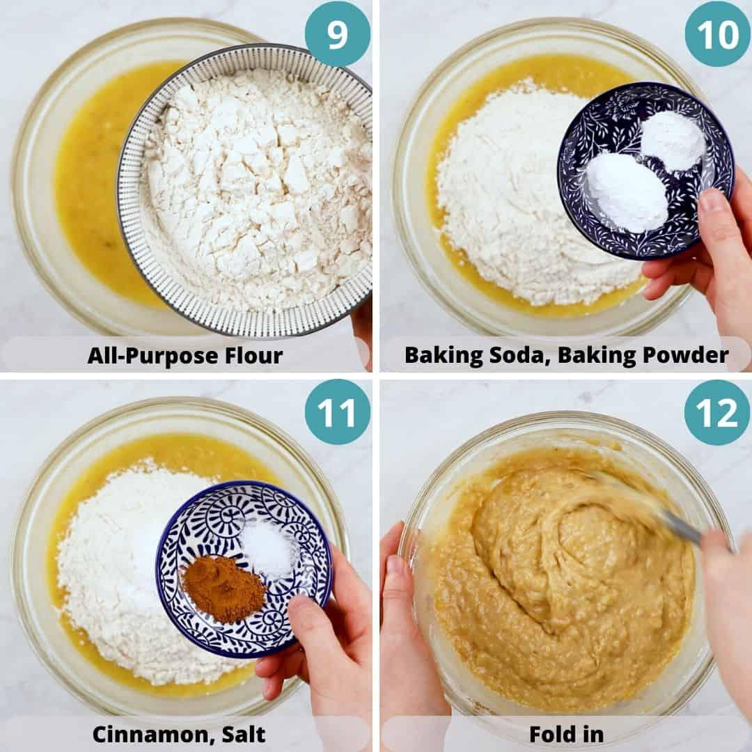 Process photos of how to make Banana Bread.