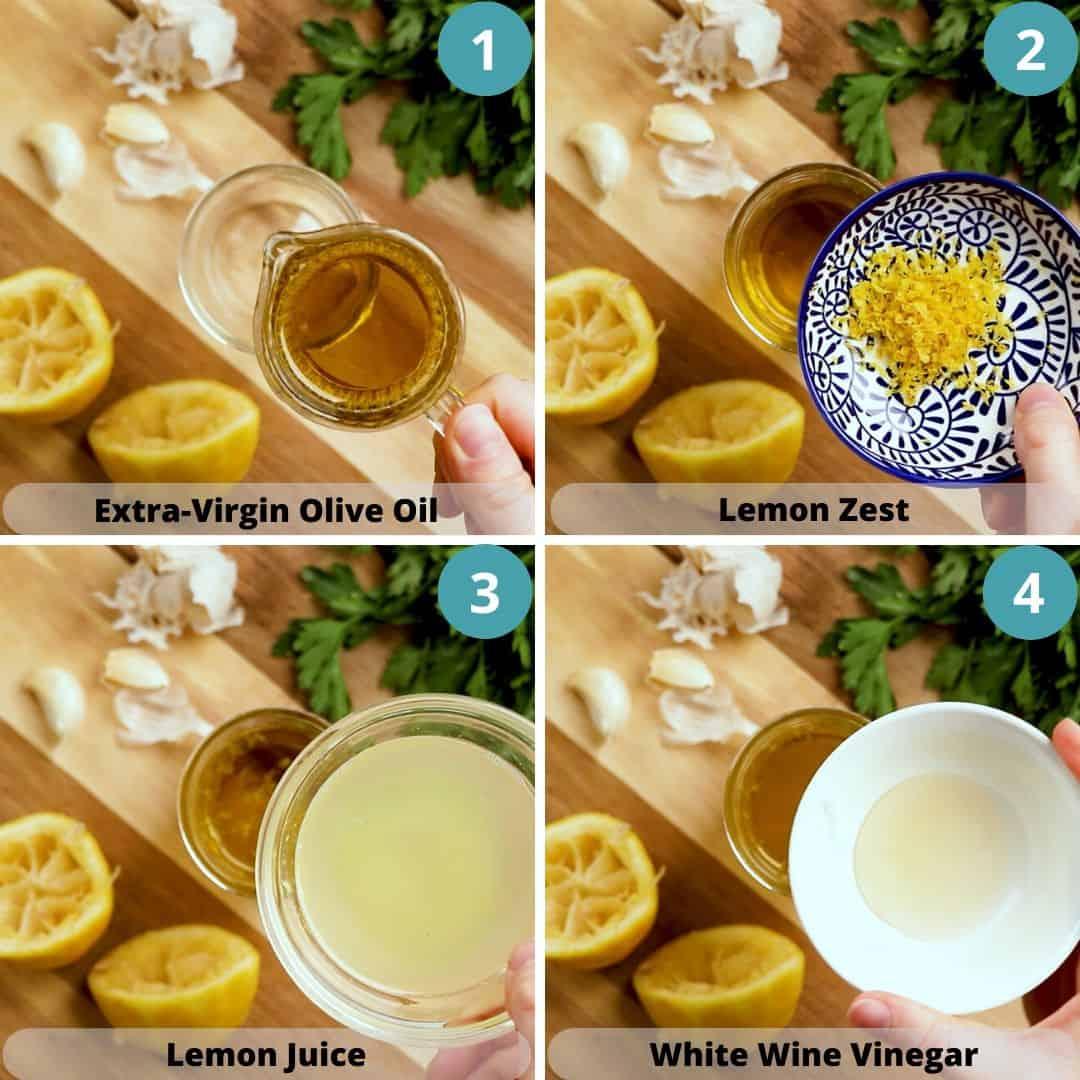 Process photos of how to make Lemon Vinaigrette.