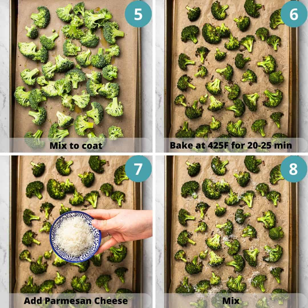 Process photos of how to roast broccoli.