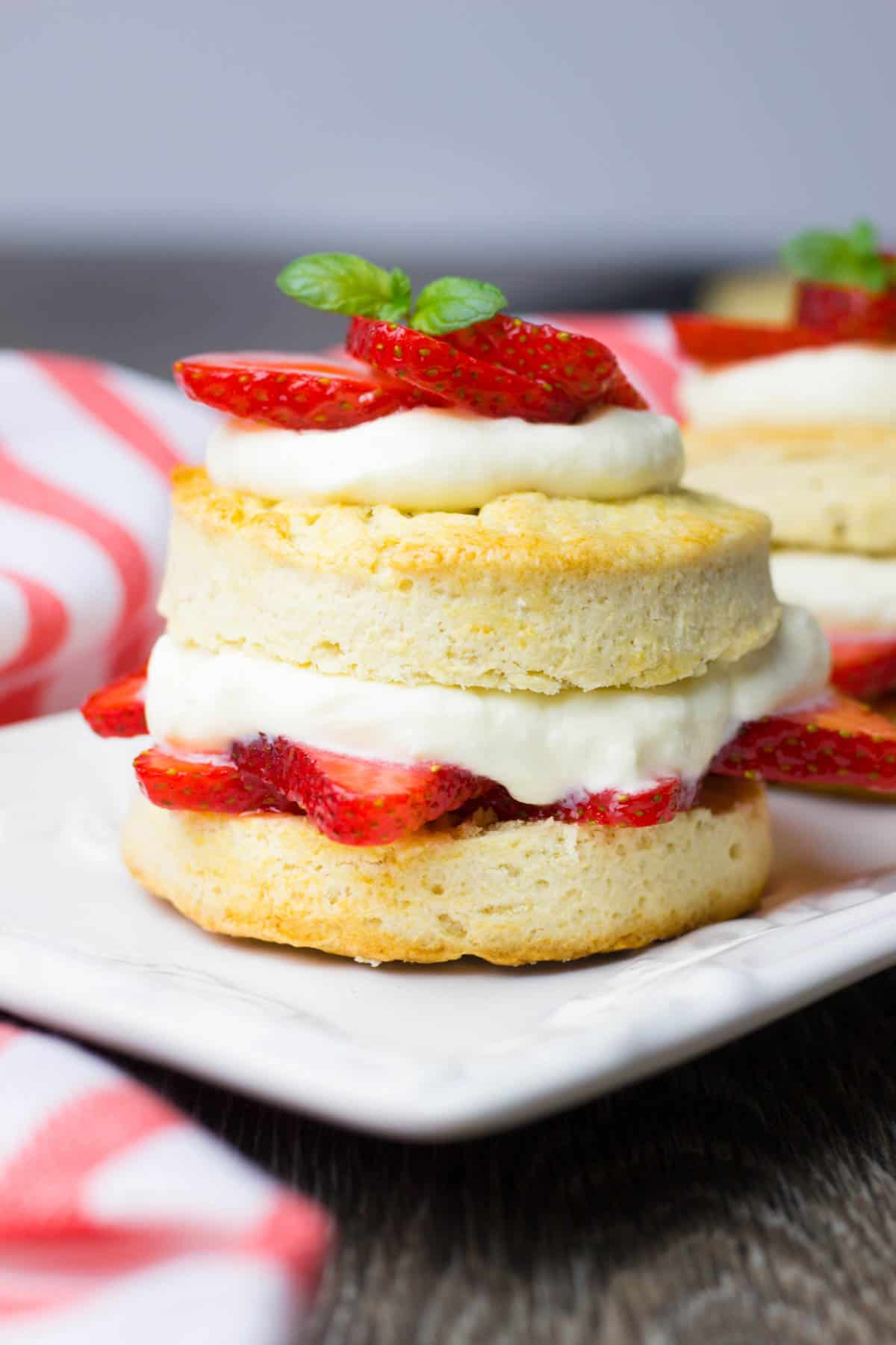 Shortcake, filled with whipped cream and fresh strawberries.