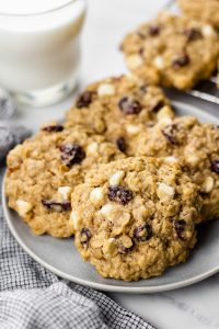 Oatmeal cookies on a plate.