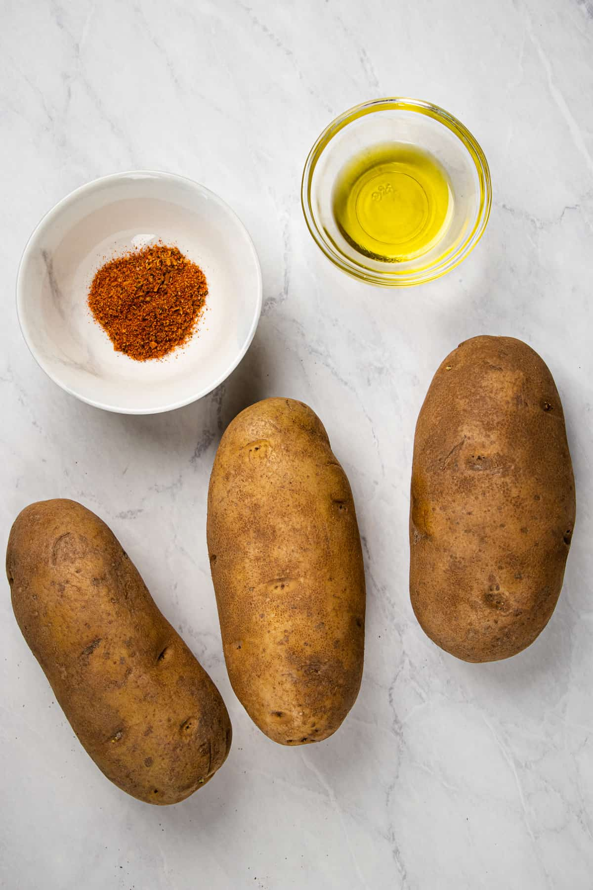 Ingredients for baked fries.