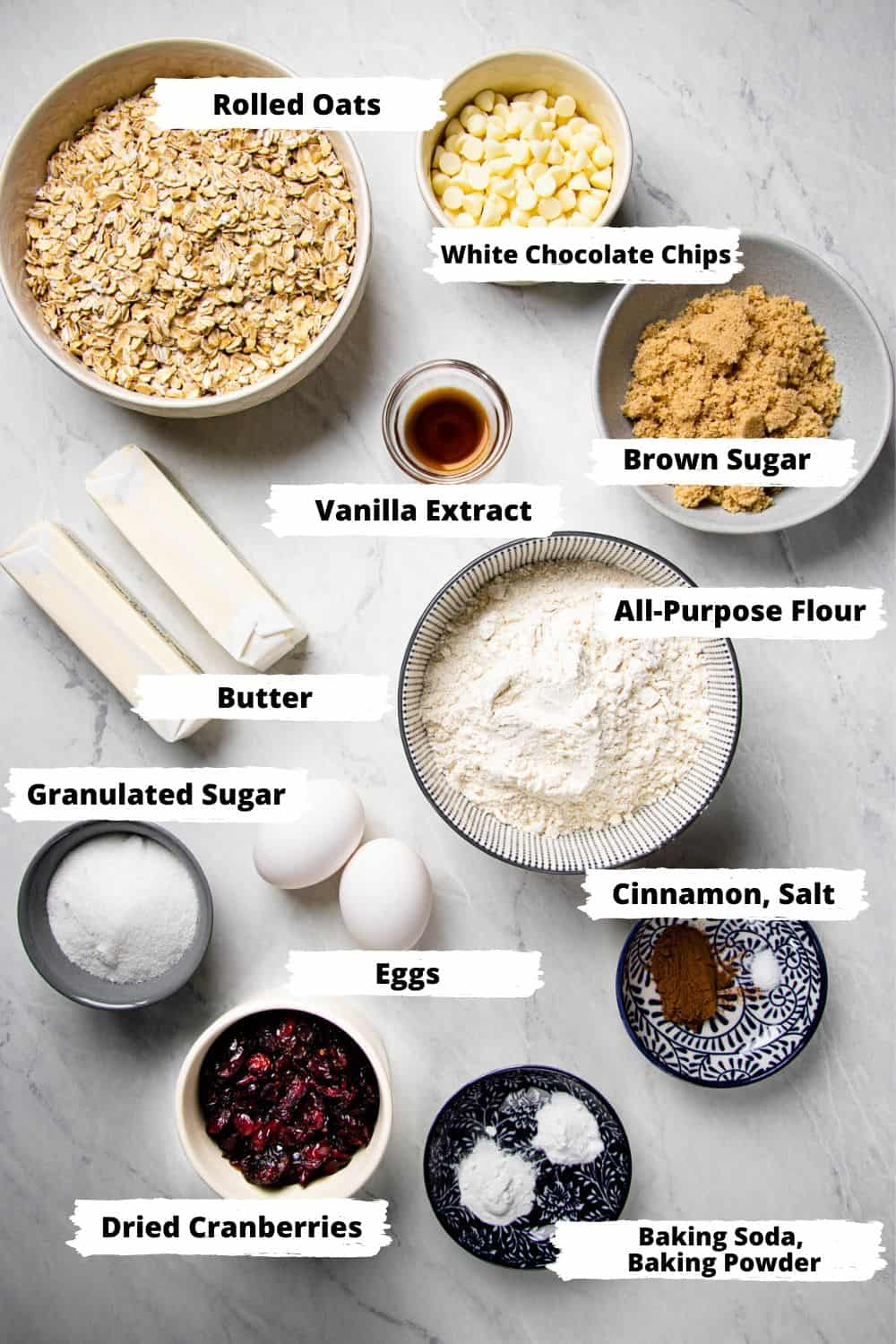 Ingredients for Oatmeal Cookies.
