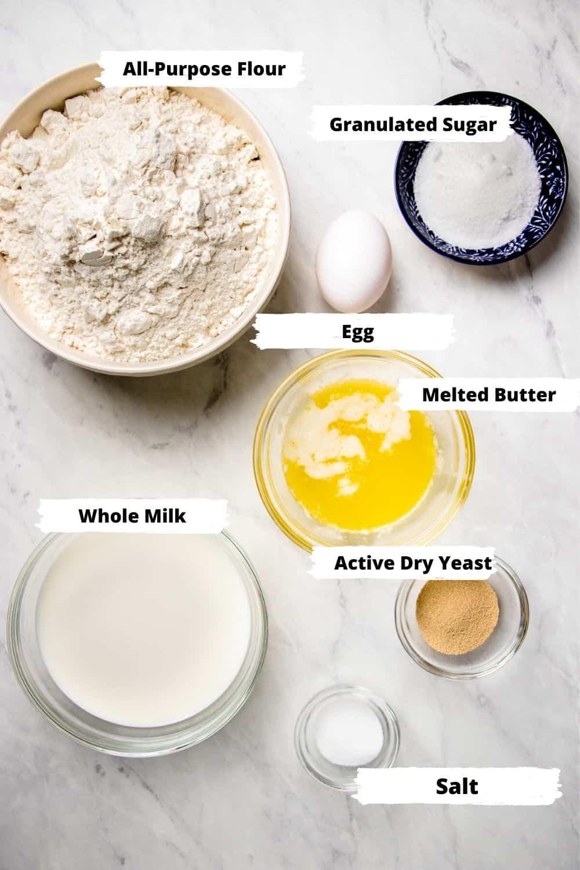 ingredients for dinner rolls.