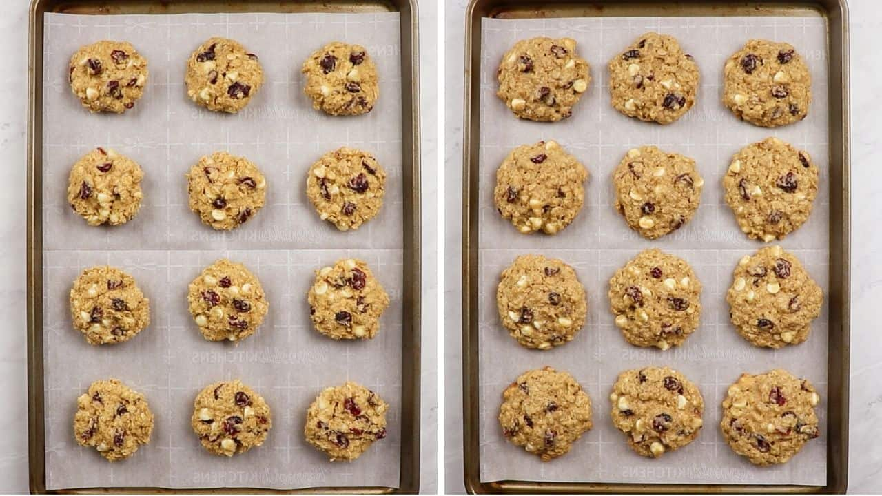 Oatmela cookies before and after baking.