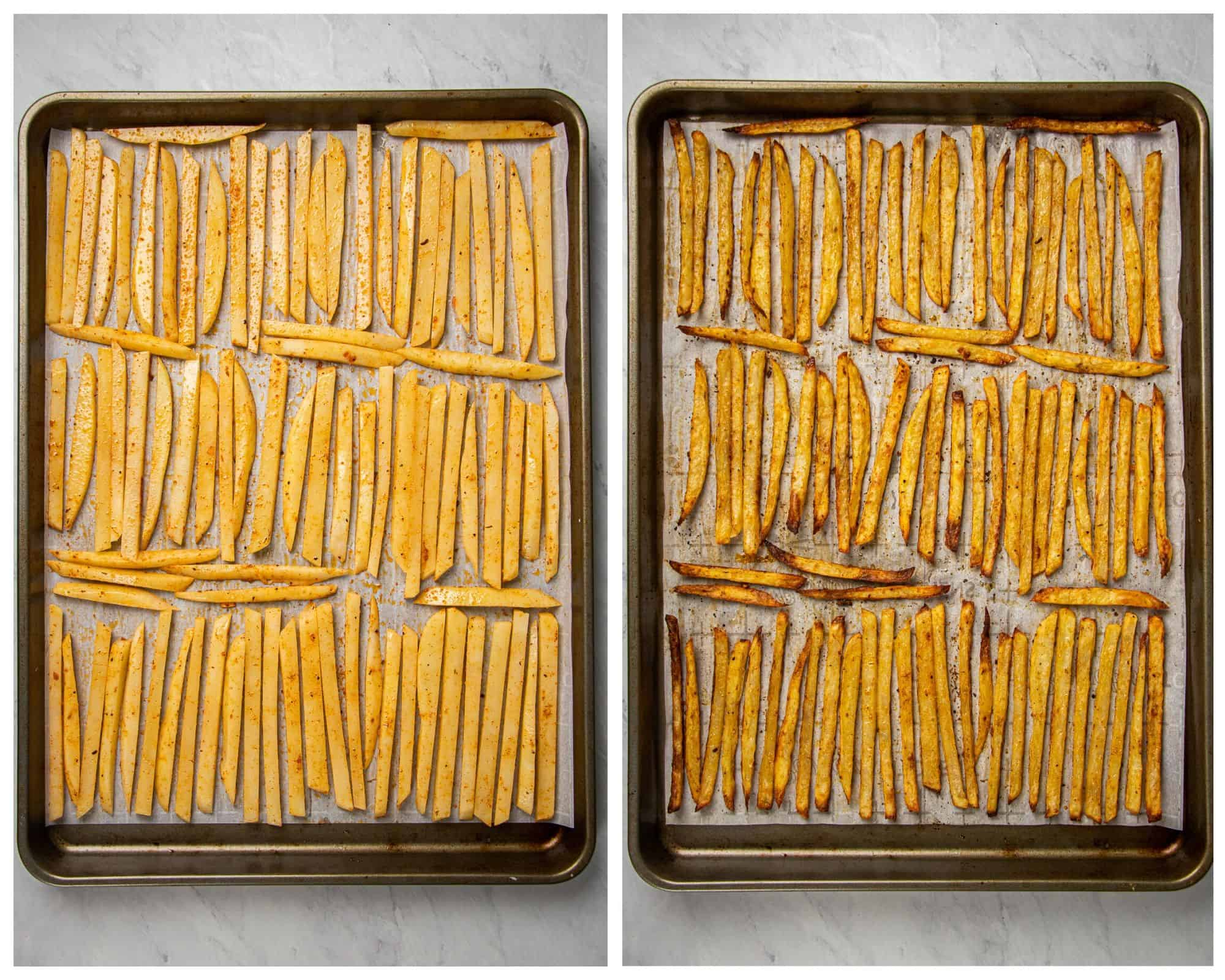 Homemade fries on a baking sheet before and after baking.