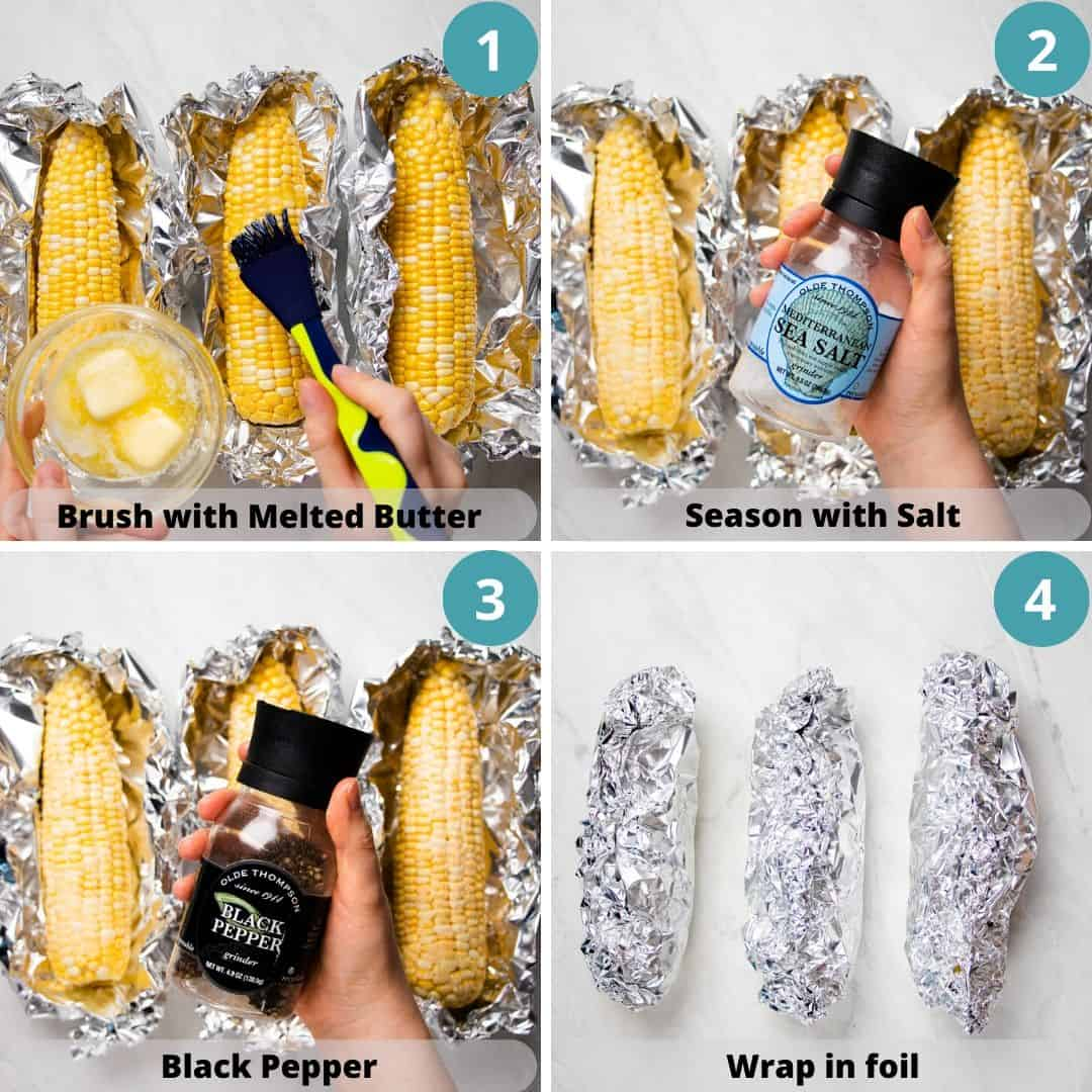 Process photos of how to roast corn on the cob.