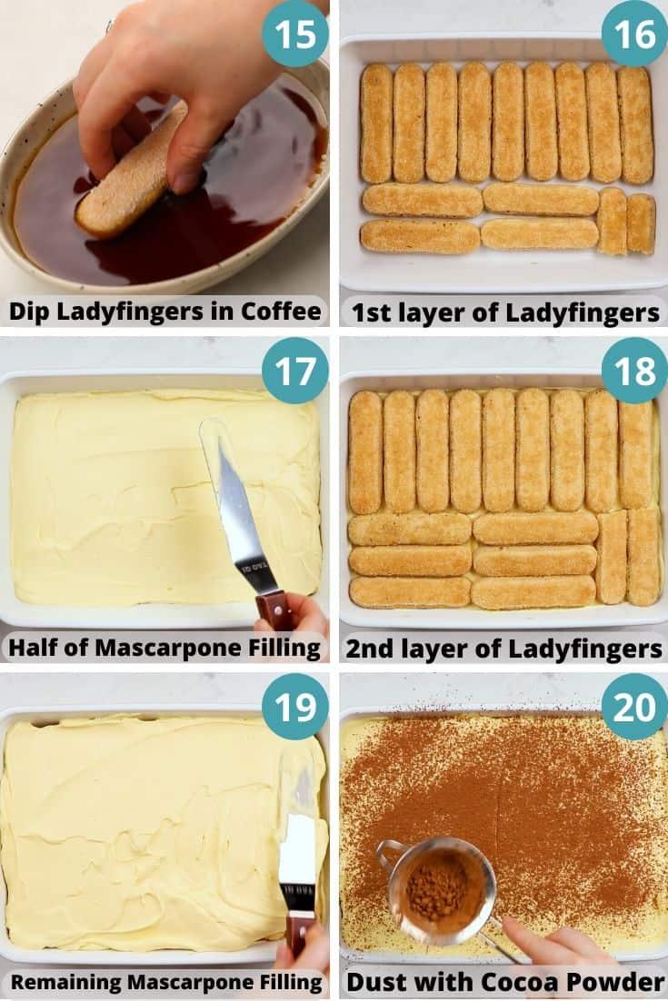 Process photos of how to make Tiramisu.