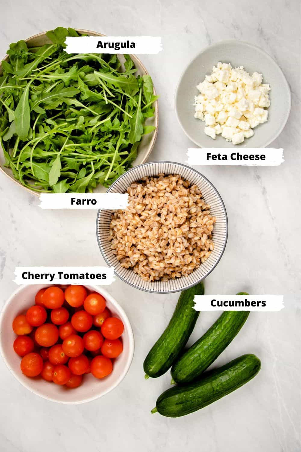 Ingredients for Farro Salad.