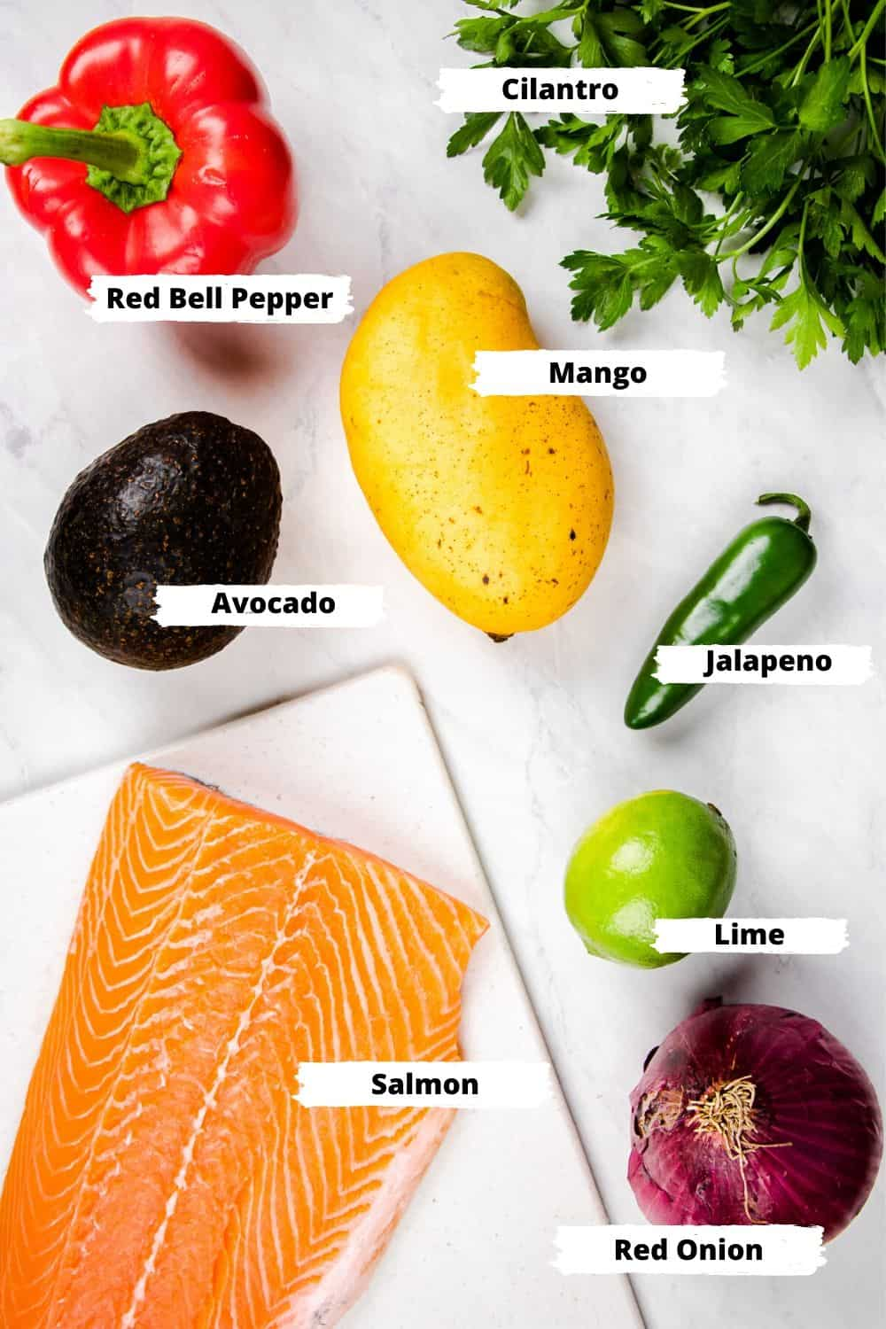 Ingredients for Salmon with Mango Salsa.