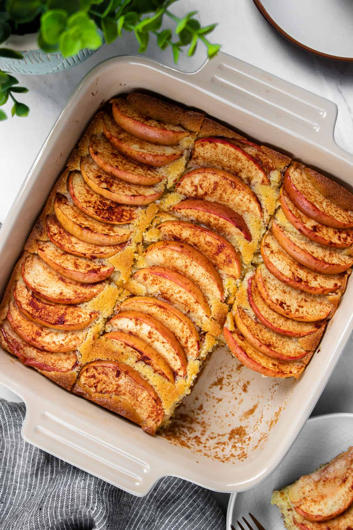 Apple Coffee Cake in white and blue baking pan.