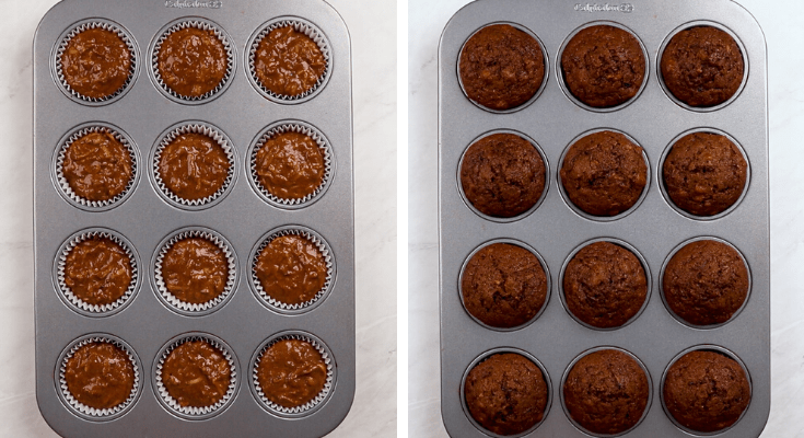 Chocolate Zucchini Muffins before and after baking.