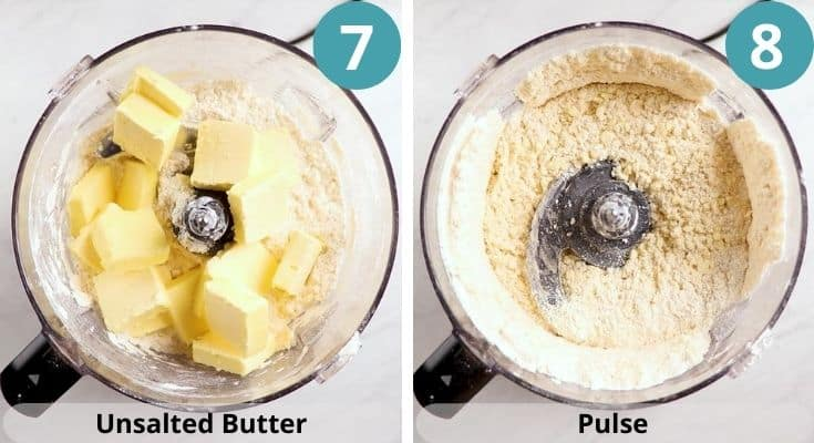 Process photos of how to make pie crust.