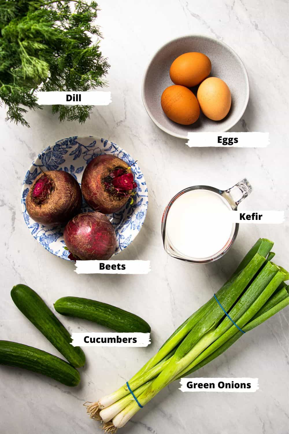 Ingredients for holodnik (beet soup)