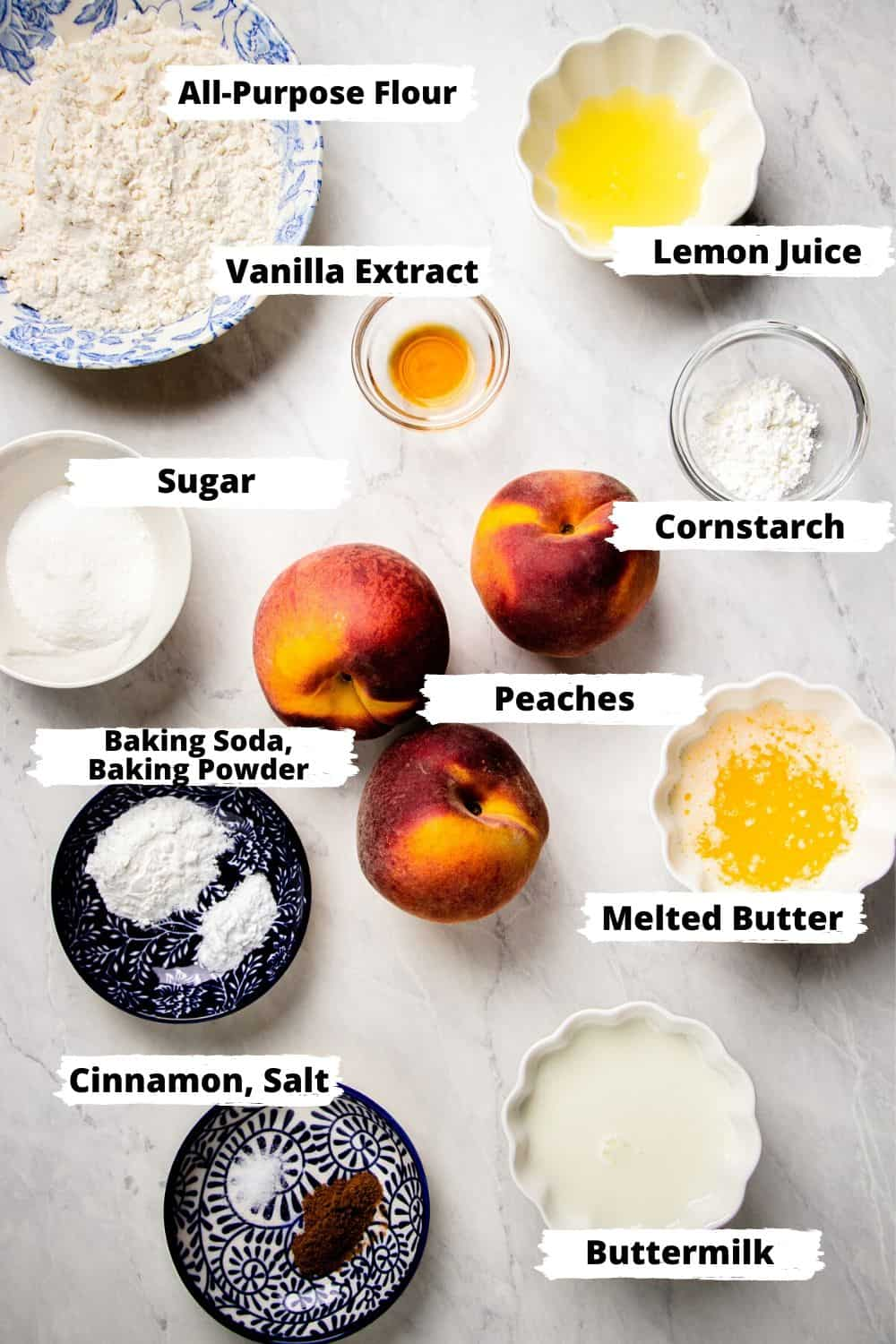 Ingredients for Peach Cobbler.