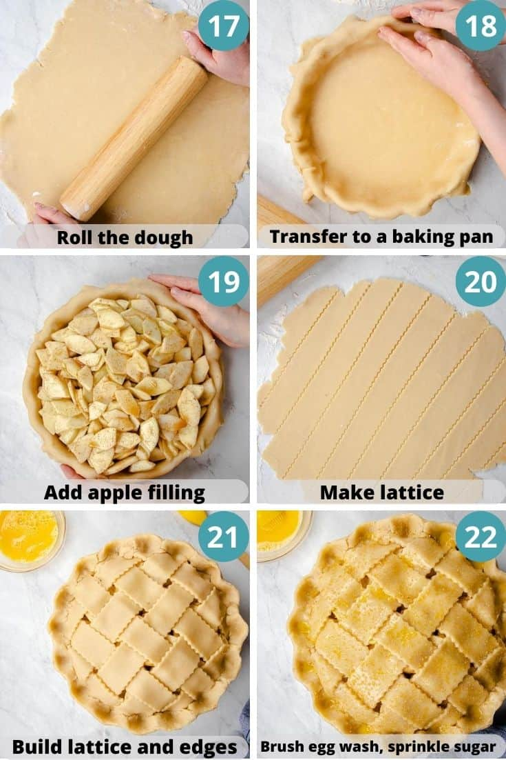 Process photos of how to make an Apple Pie.