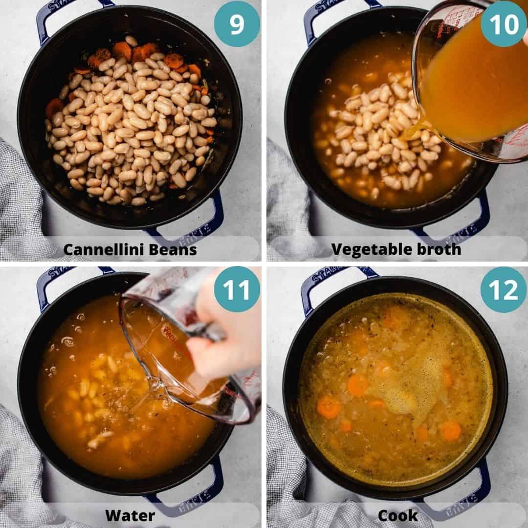 Process photos of how to make white bean soup.