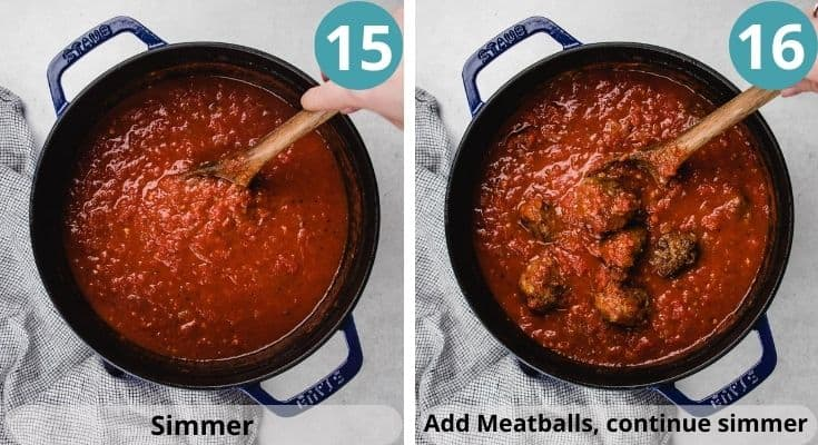 Process photos of how to make spaghetti with meatballs.