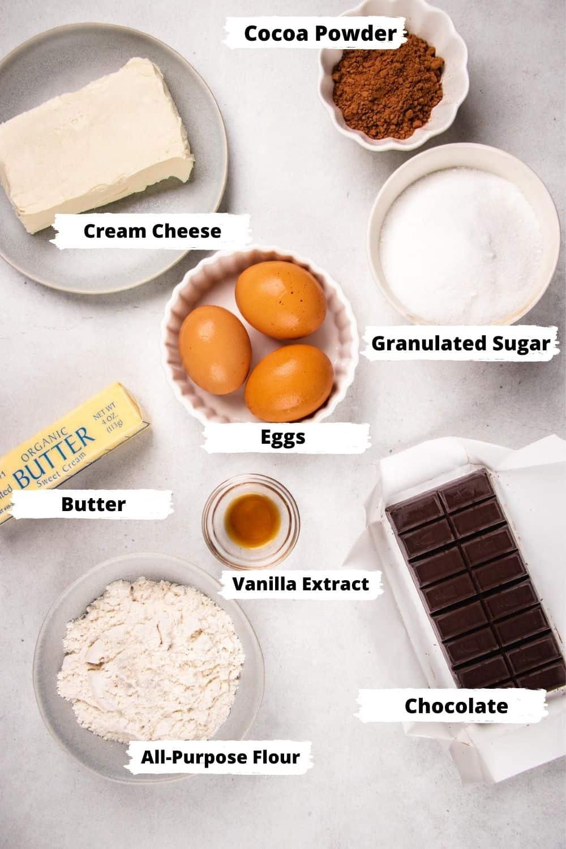 Ingredients for Cheesecake Brownies.