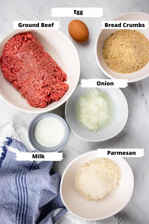 ingredients for meatballs.