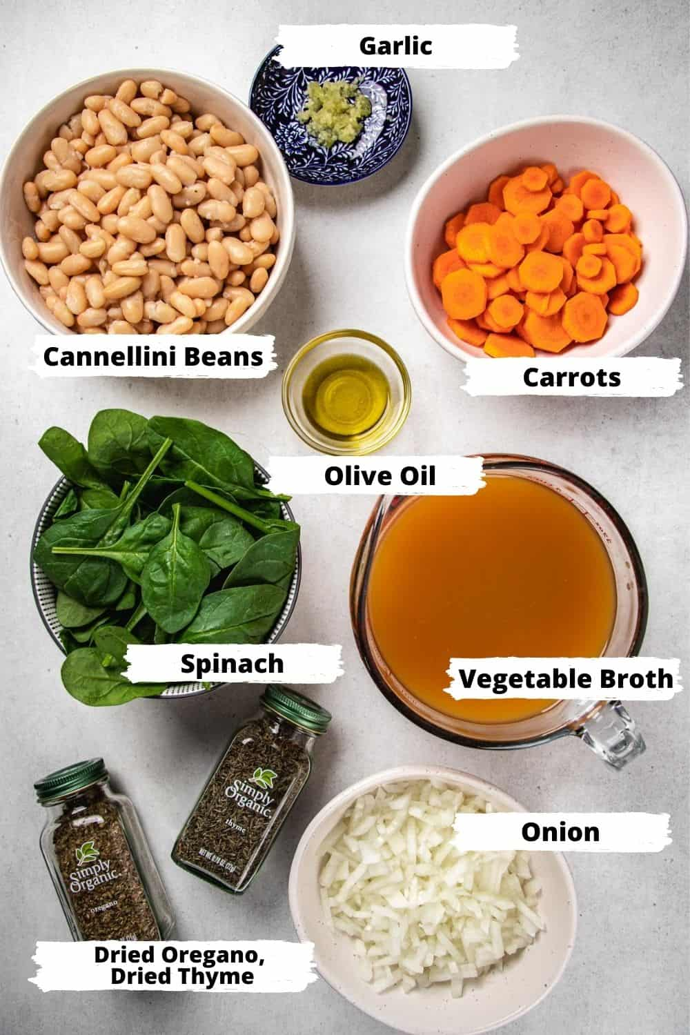 Ingredients for white bean soup.