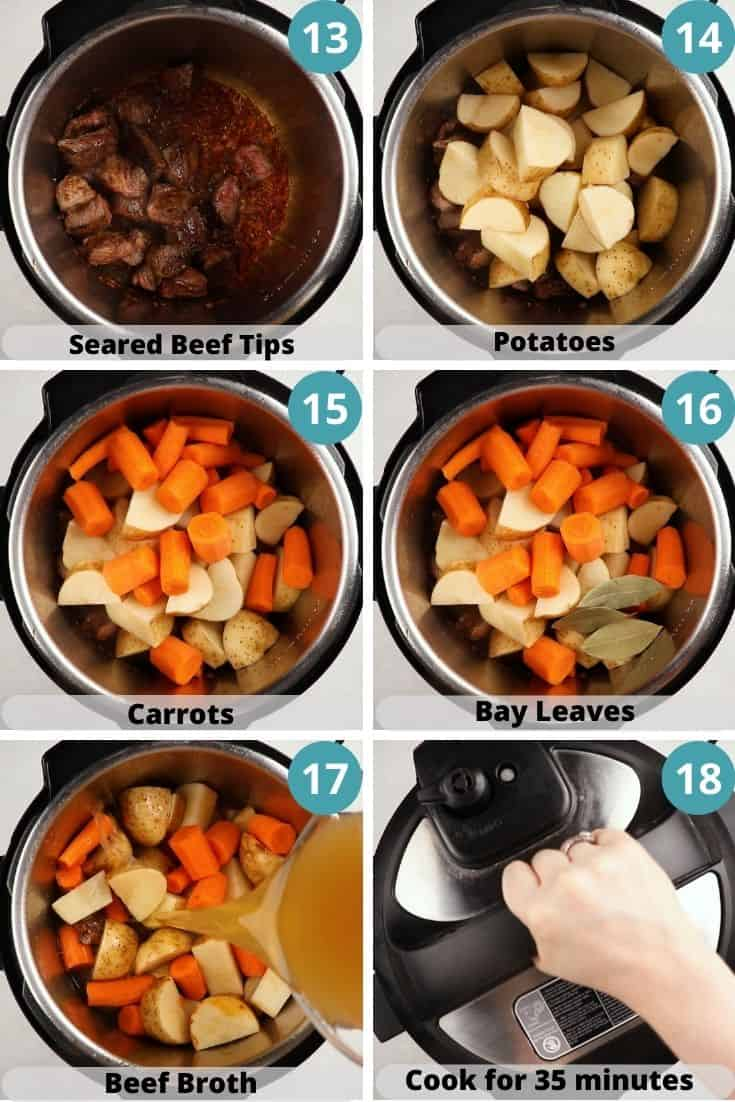 Process photos of how to make beef stew.