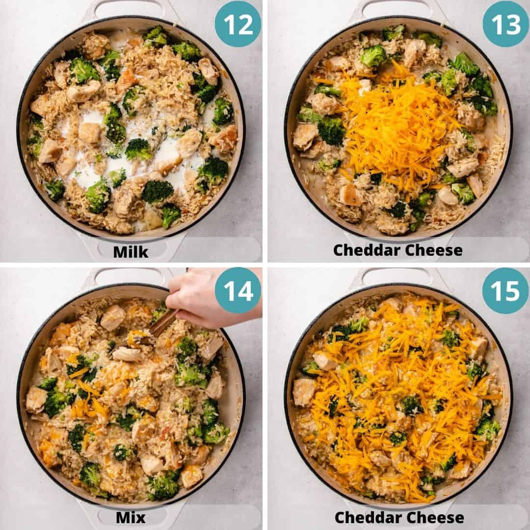 Process photos of how to make Cheesy Broccoli Chicken and Rice Casserole.