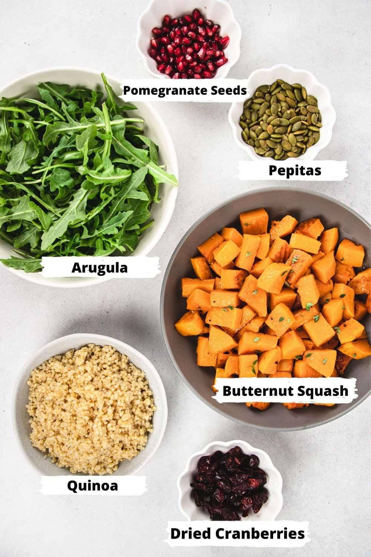 Separate ingrediens for Butternut Squash Quinoa Salad.