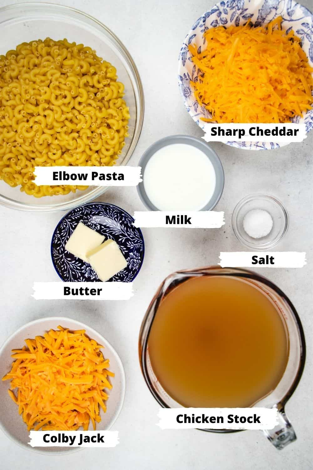Ingredients for Mac and Cheese.