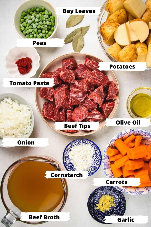 Ingredients for Instant Pot Beef Stew.