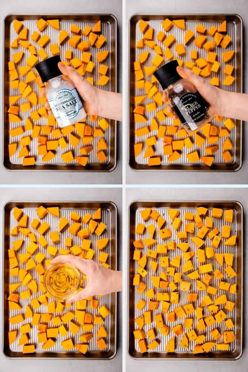 Process photos pf how to roast butternut squash.