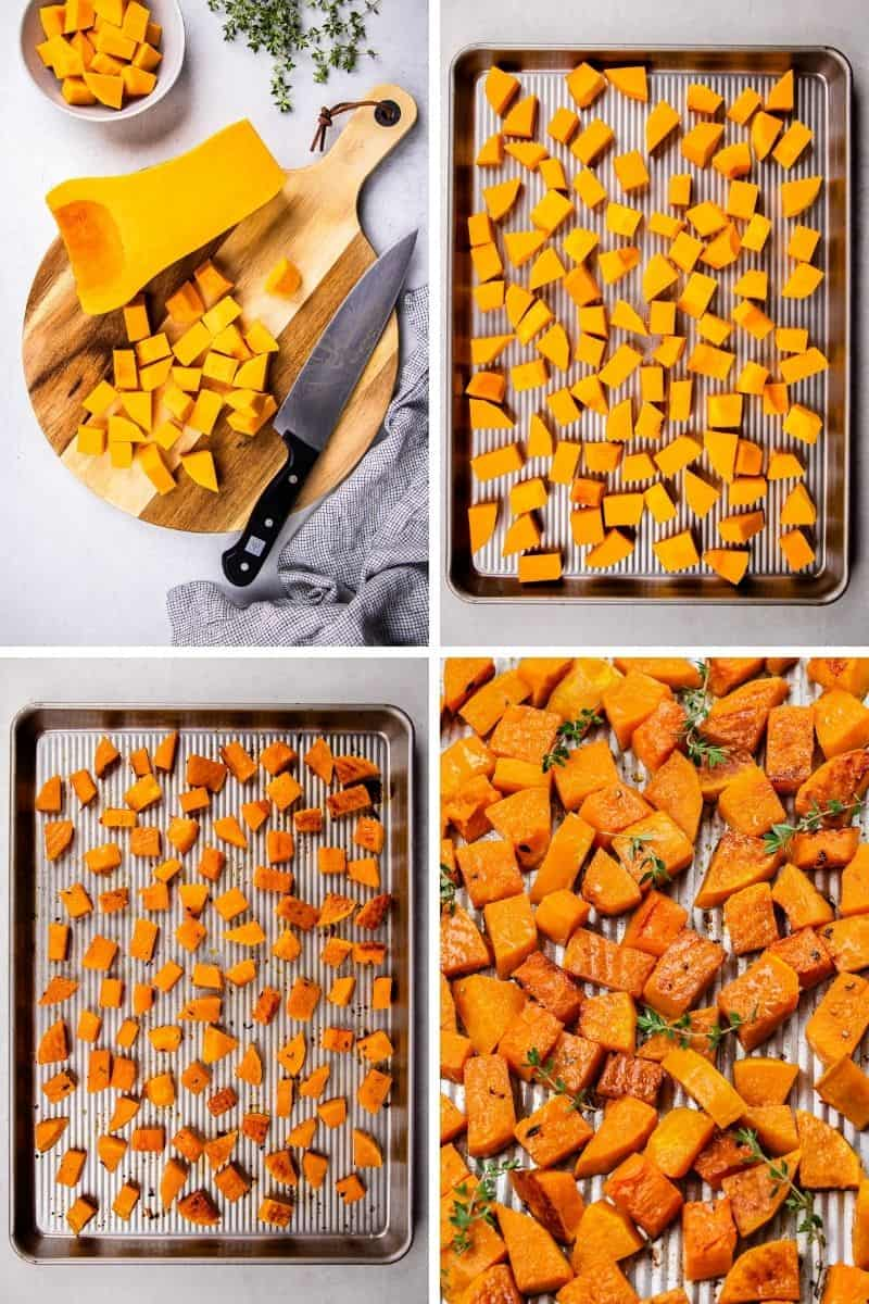 Process photos of how to roast a butternut squash.
