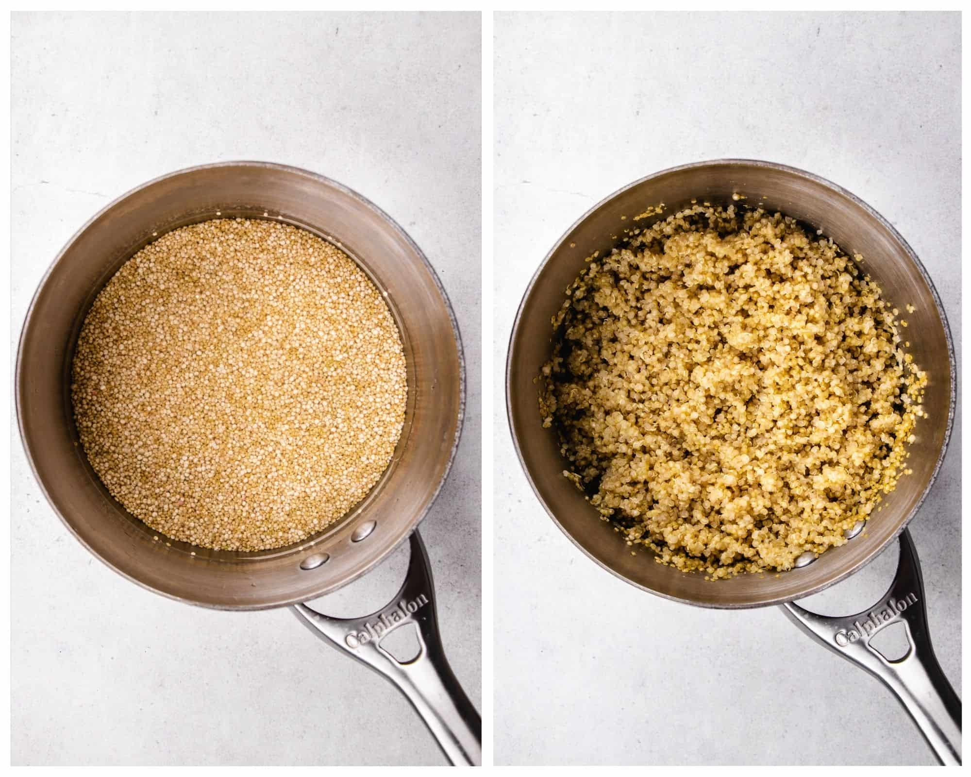 Quinoa in a sauce pan, before and after cooking.