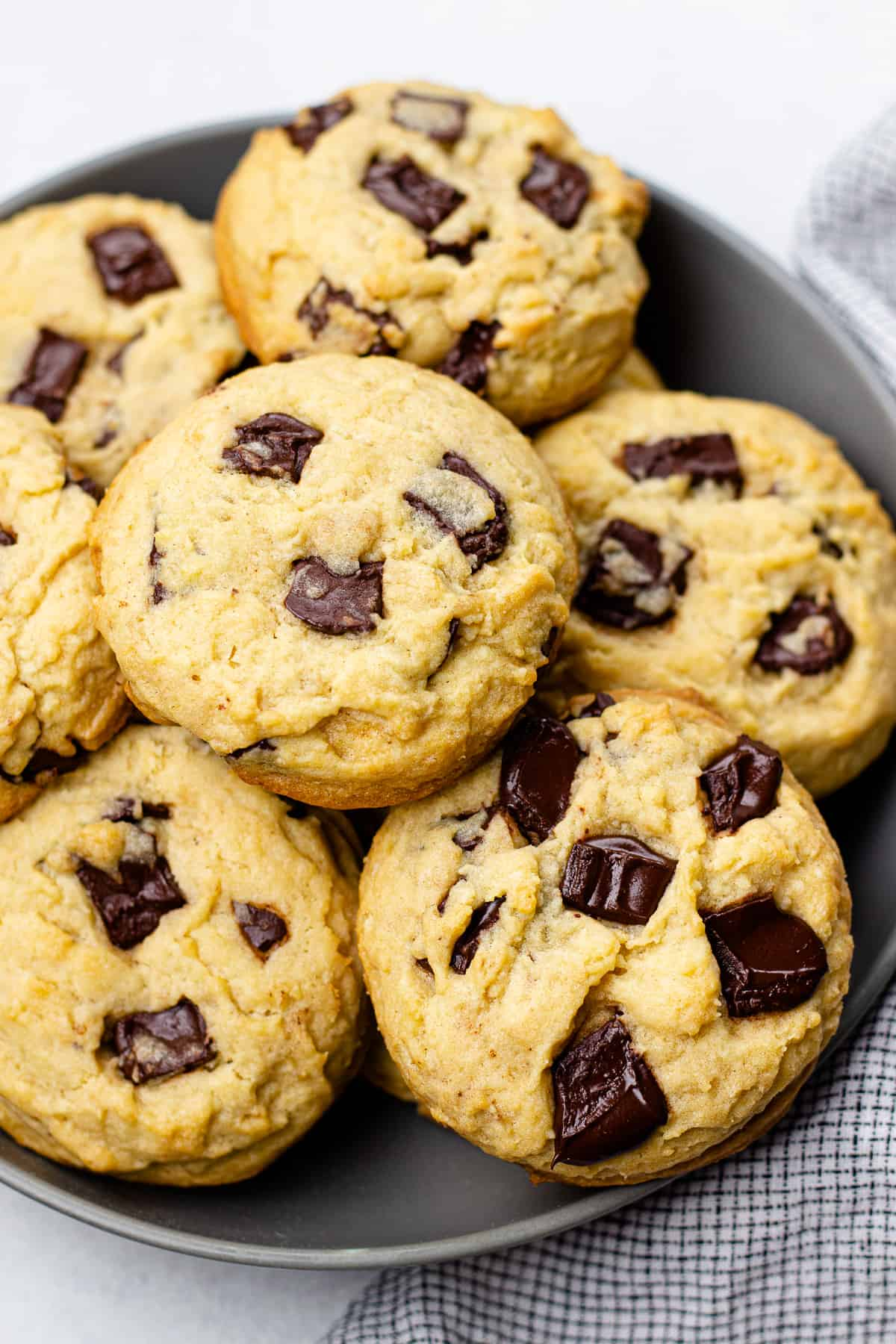Chocolate Chip Cookies on a grey plate.