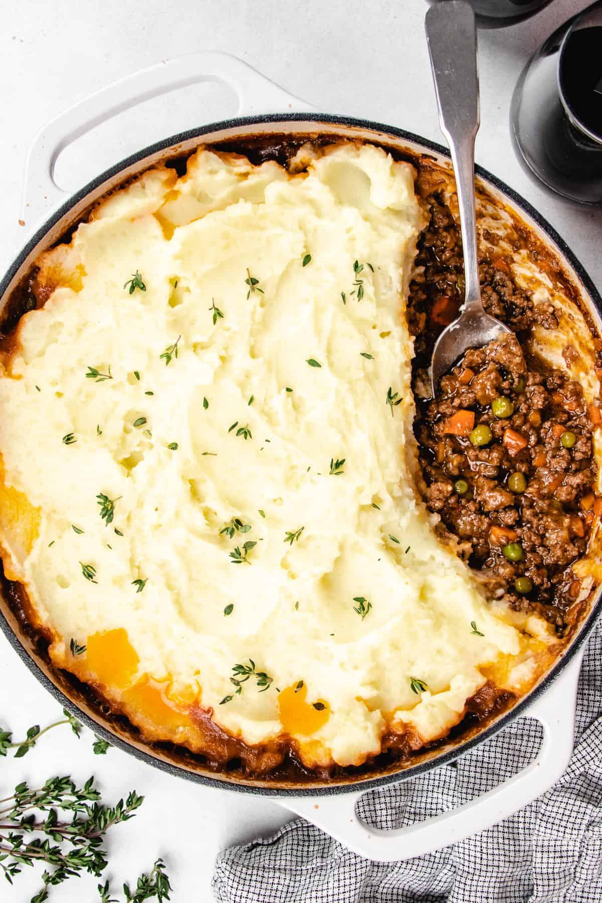 Shepherd's Pie in a white casserole.
