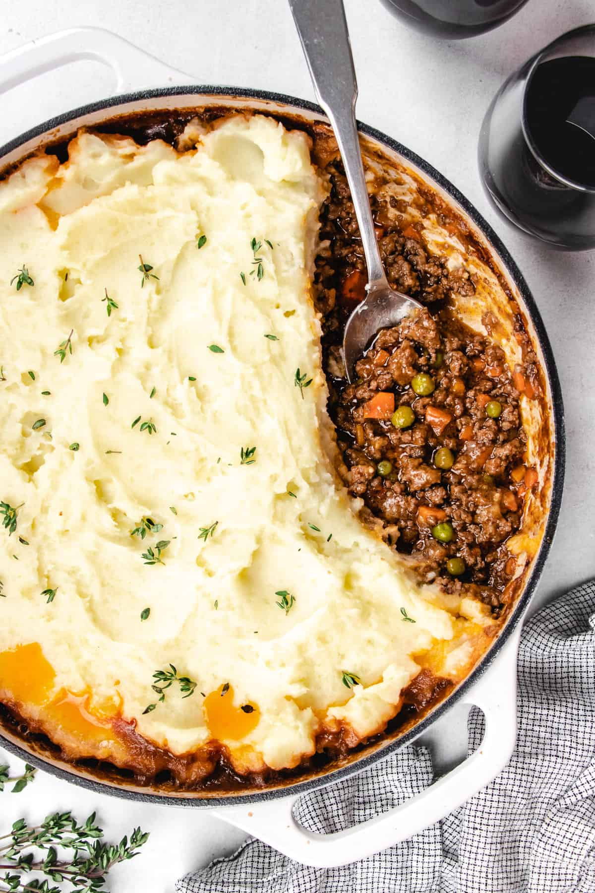 Shepherd's Pie in a white casserole.