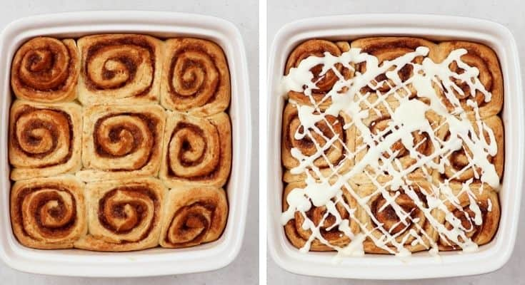 Process photos of how to make Overnight Cinnamon Rolls.