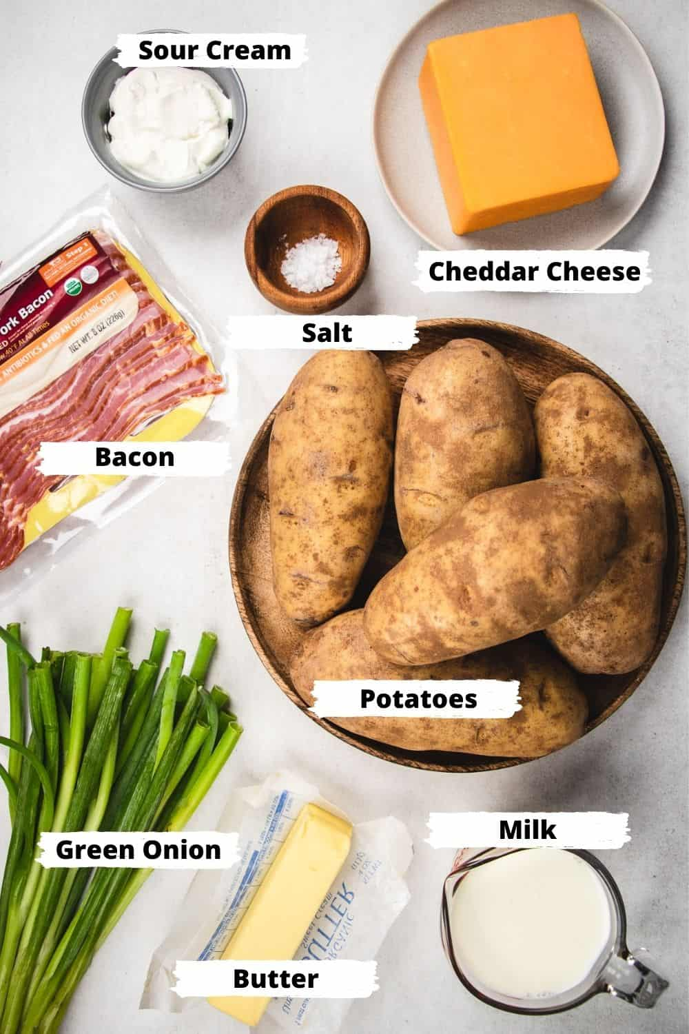Ingredients for loaded mashed potatoes.