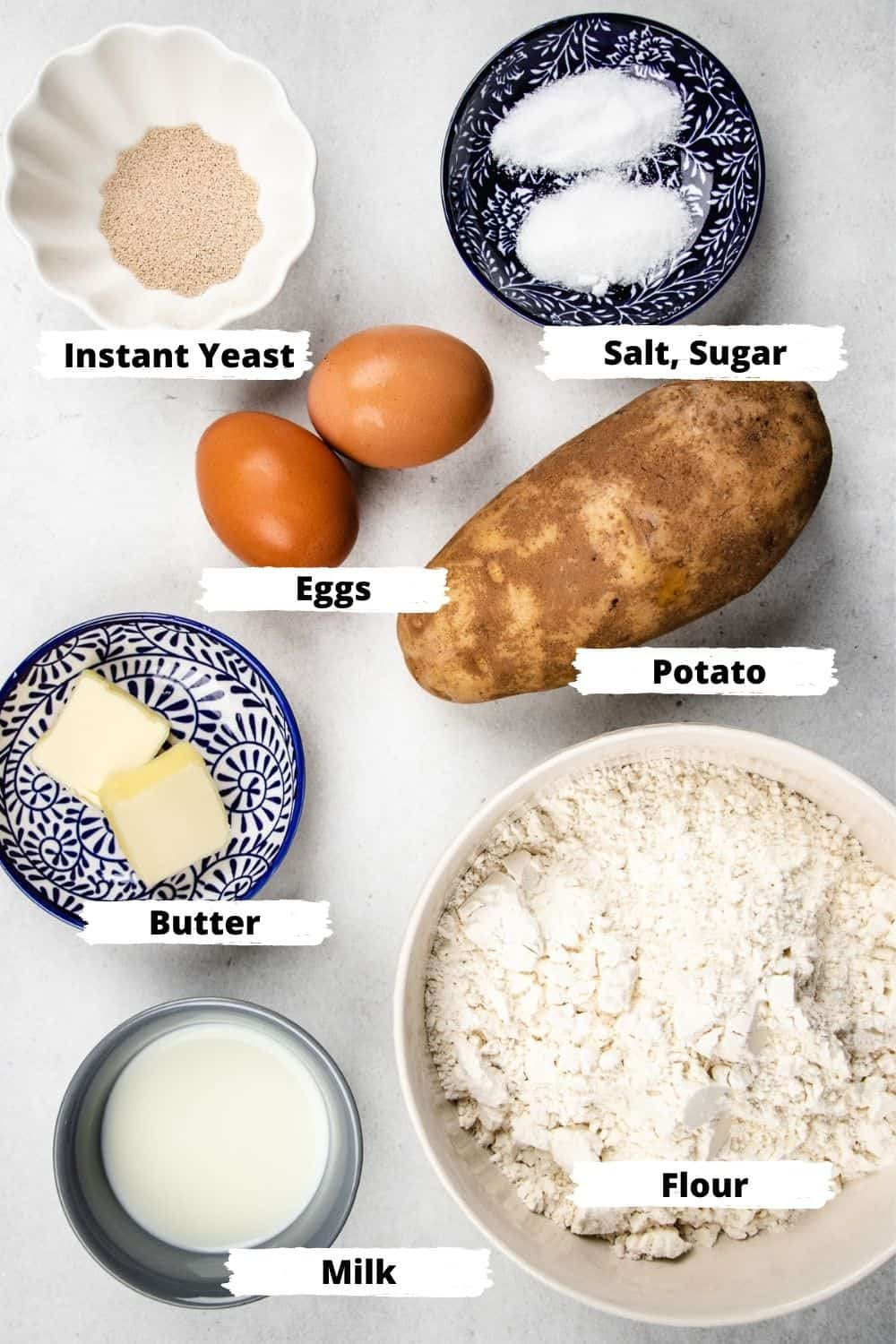 Ingredients for the potato rolls