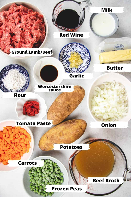 Ingredients for Shepherd's Pie.