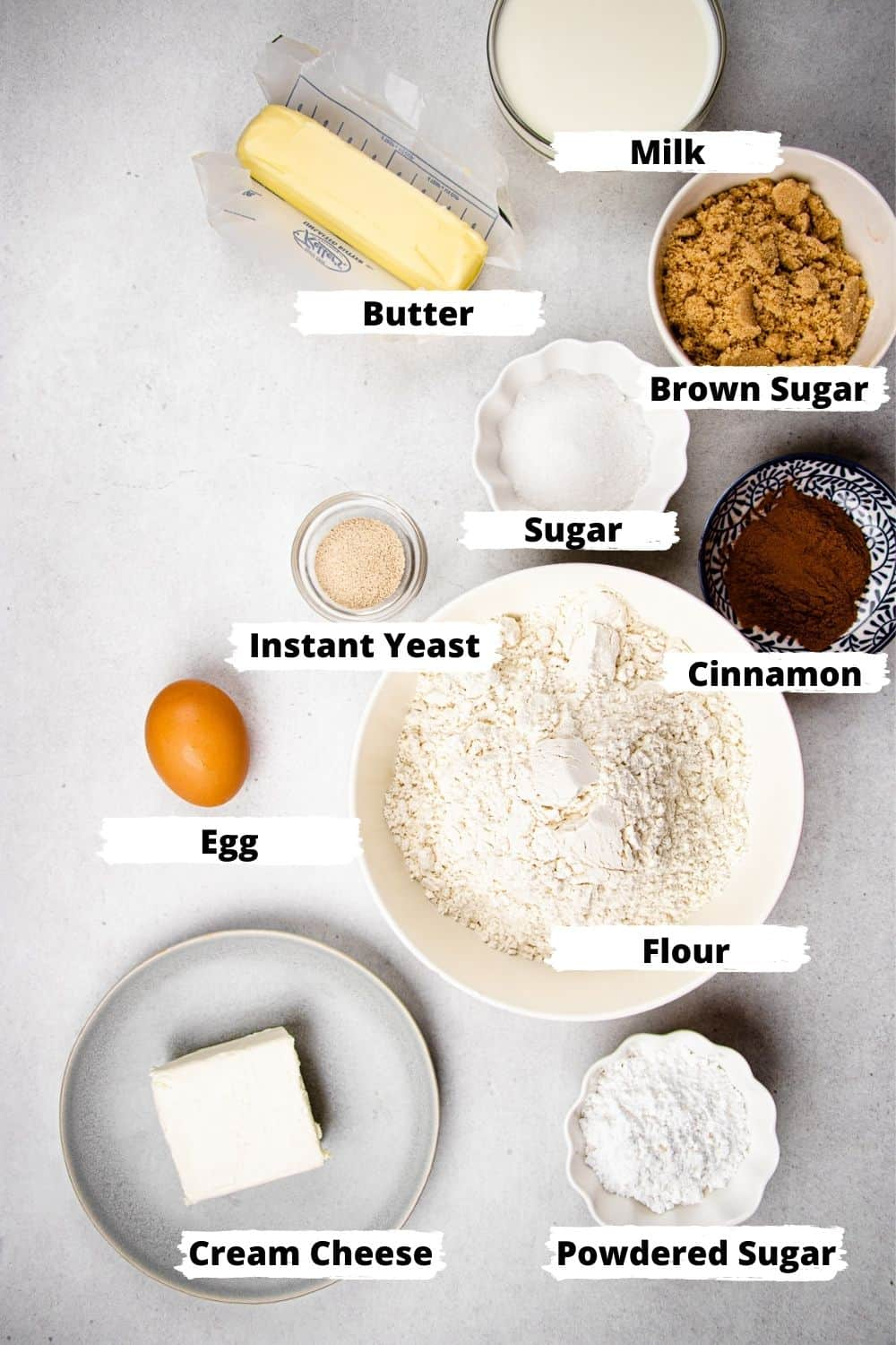 Ingredients for Overnight Cinnamon Rolls.