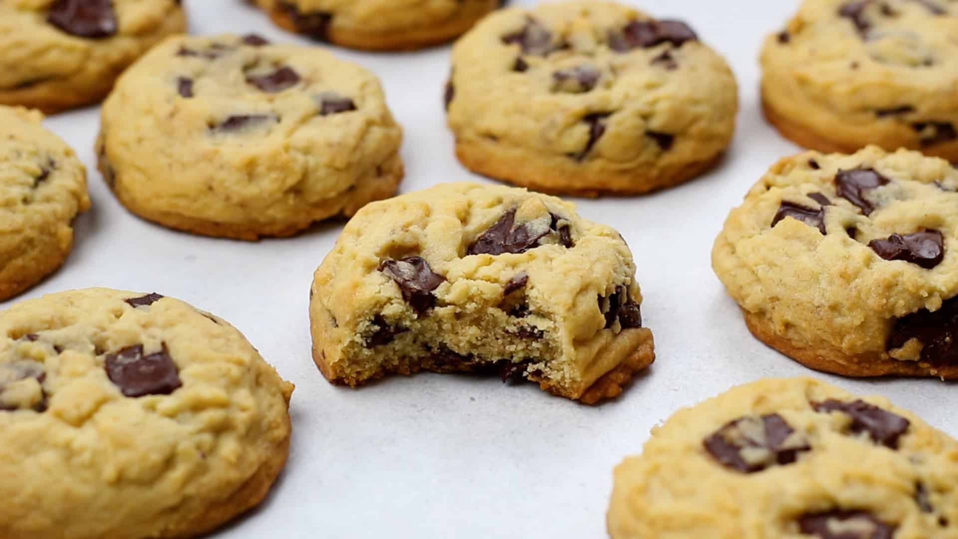 Chocolate Chip Cookies on a white table.