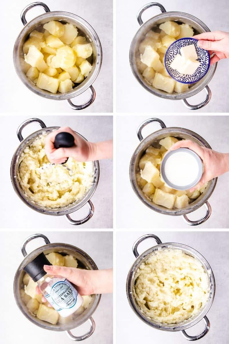 Process photos of how to make Shepherd's Pie.