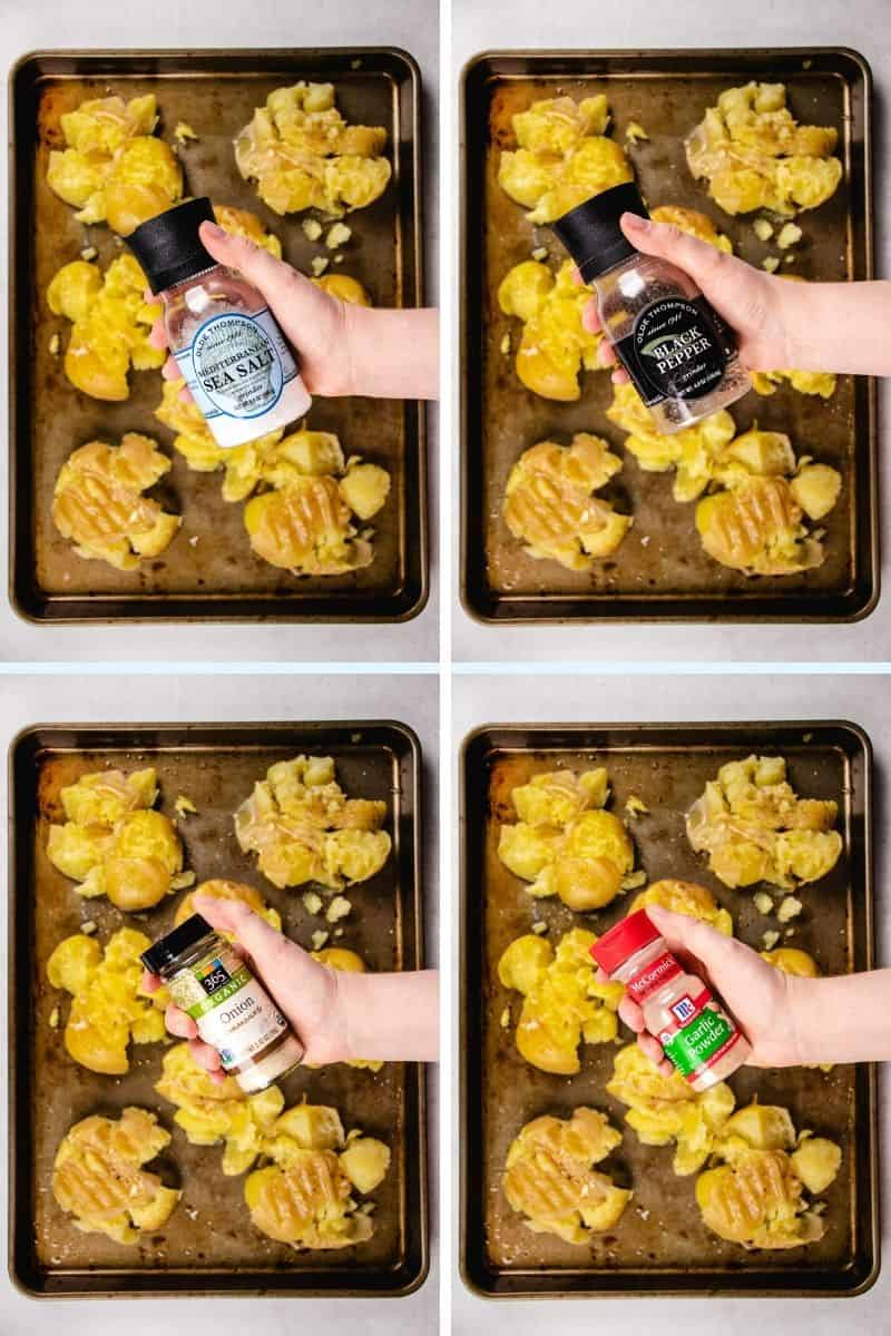 process photos of seasoning smashed potatoes.