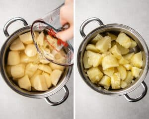 Process photos of how to make loaded mashed potatoes.
