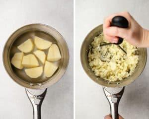 Process photos of how to make potato rolls.