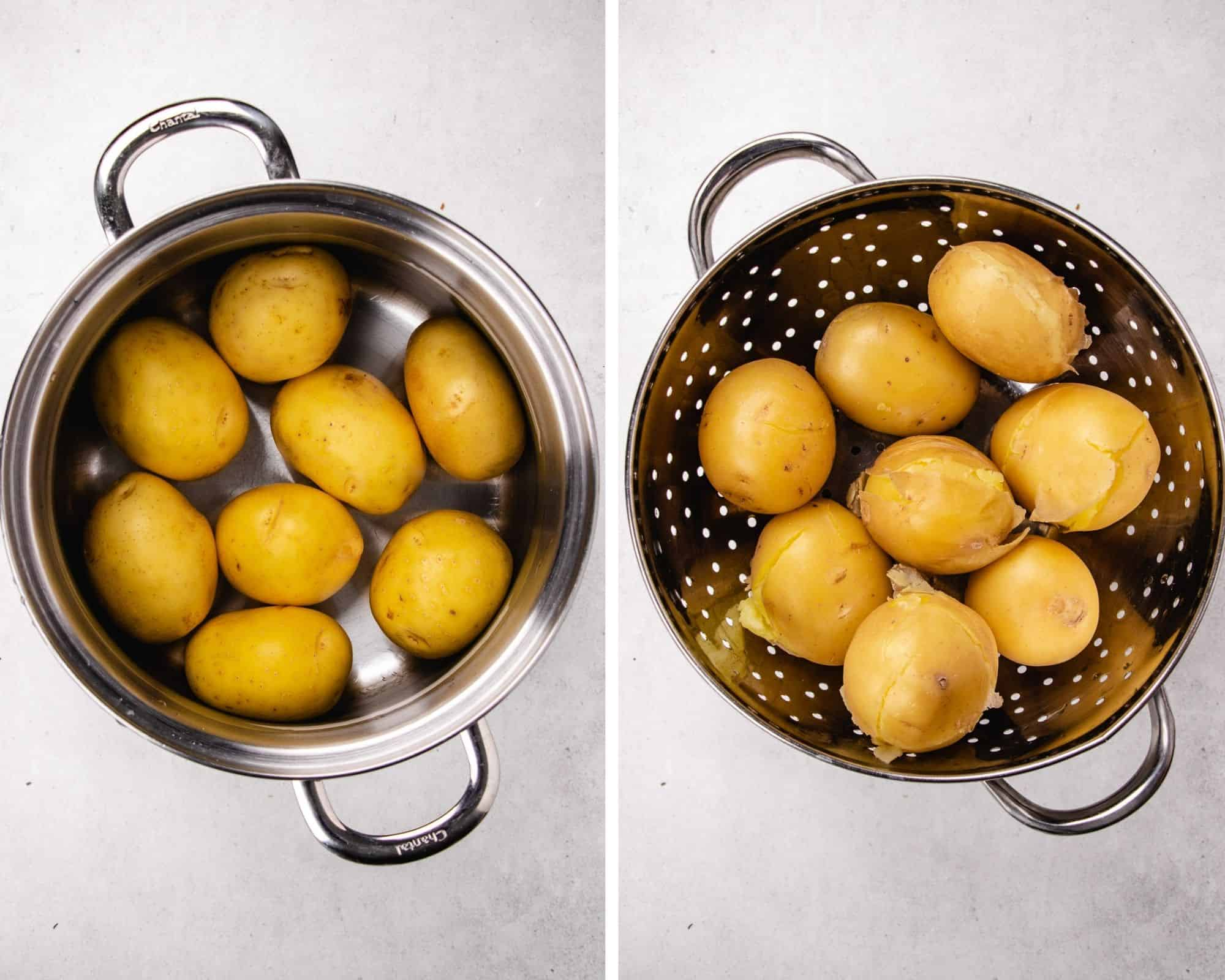 baby potatoes in a pot with water and cooked in collander.