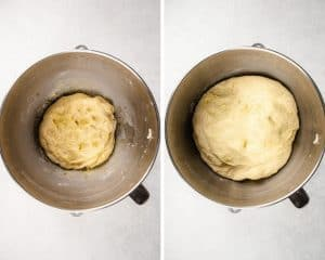 potato rolls dough in a mixing bowl before and after proofing.