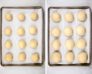 Potato rolls on a baking sheet before and after proof.