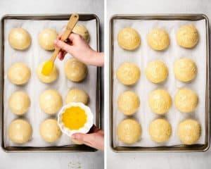 Potato rolls on a baking sheet before baking.